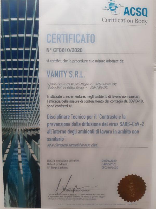 certificato covid free